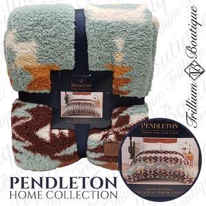 Pendleton Sherpa Fleece Blanket Avra Valley Teal